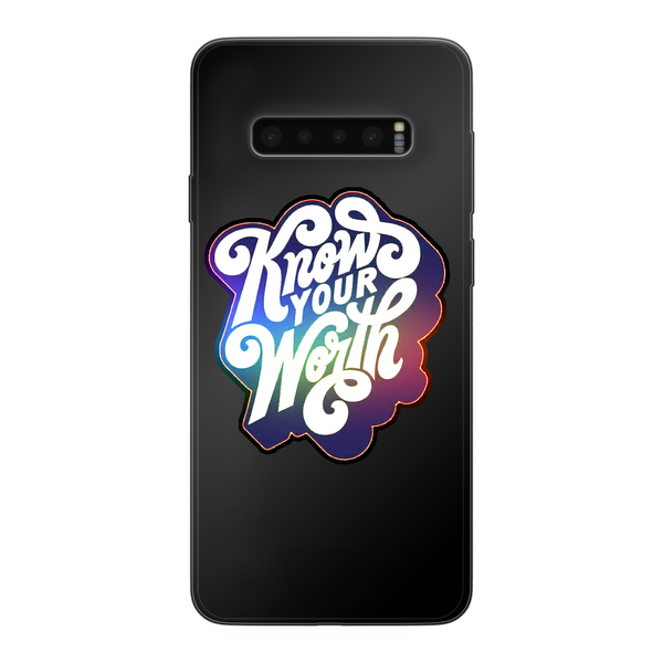 Know Your Worth, Rainbow Back Printed Black Soft Phone Case - Spangle