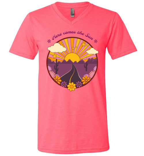Here Comes the Sun Unisex V-Neck T-Shirt - Spangle