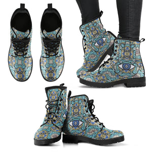 Hamsa Hand Women's Leather Boots - Spangle