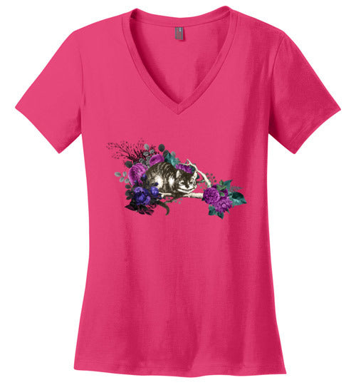 Cheshire Cat Ladies Perfect Weight V-Neck T-Shirt - Spangle