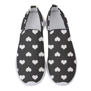 Ruby Women's Slip On Sneakers White hearts on black - Spangle