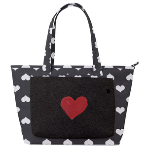 White on Black Heart Print Back Pocket Shoulder Bag - Spangle