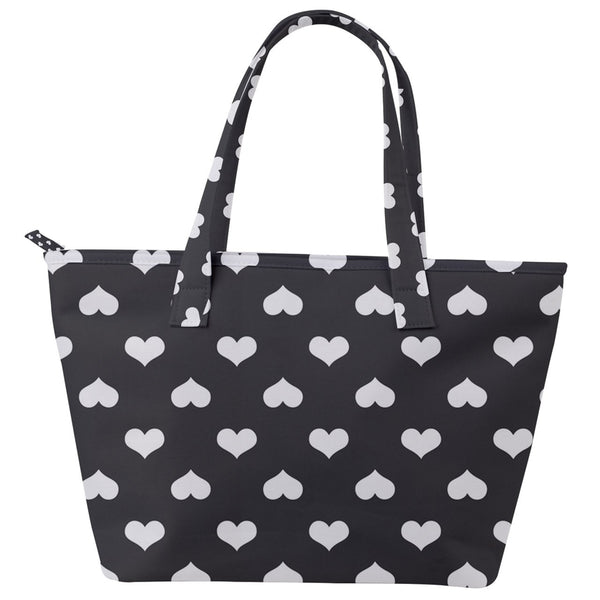 White on Black Heart Print Back Pocket Shoulder Bag + Free face mask! - Spangle
