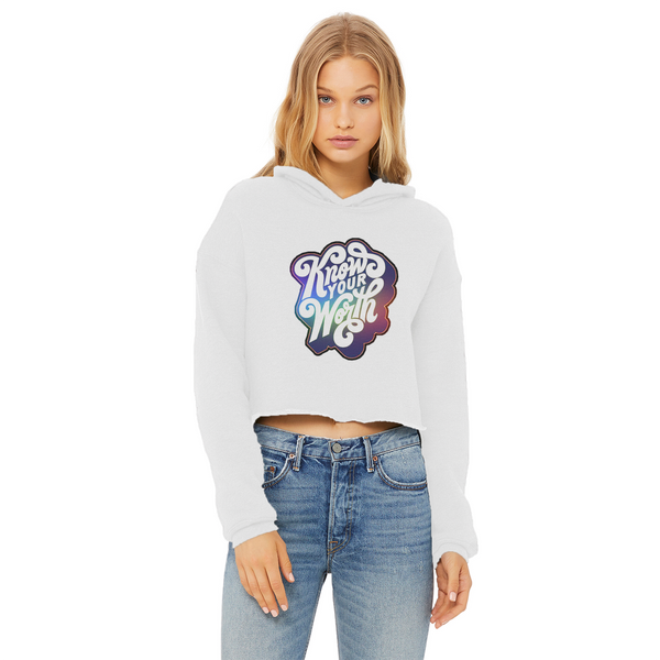 Know Your Worth, Rainbow Ladies Cropped Raw Edge Hoodie - Spangle