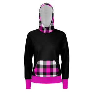 """Come Home"" Women's Hoodie, black w/hot pink tartan hood & pocket - Spangle"