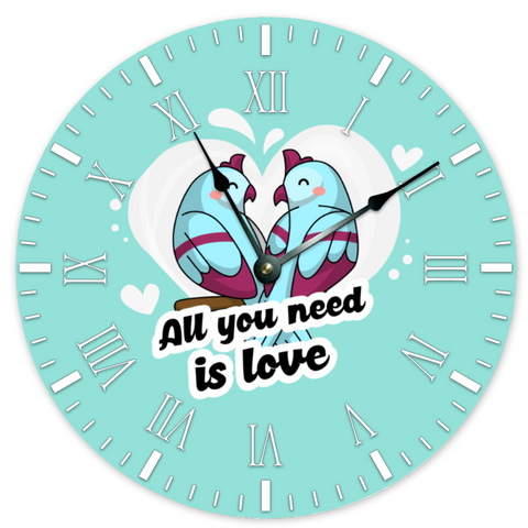 "[Made in USA] LoveBirds Modern Simplicity Wooden Clock 15""  Silent Round Wall Clock Bedroom Living Room Home Decor - Spangle"