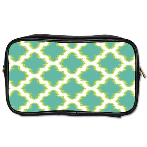 Travel Toiletry Bag, Green/White Quatrefoil Design - Spangle
