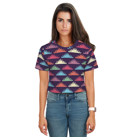 Stella Crop T-Shirt - Multicolor Triangles - Spangle