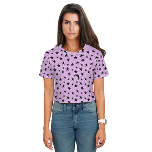 Stella Crop T-Shirt - Moons and Stars - Light Plum - Spangle