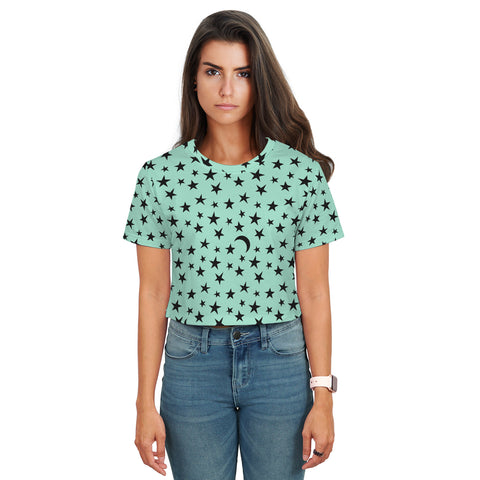 Stella Crop T-Shirt - Moons and Stars - Magic Mint - Spangle