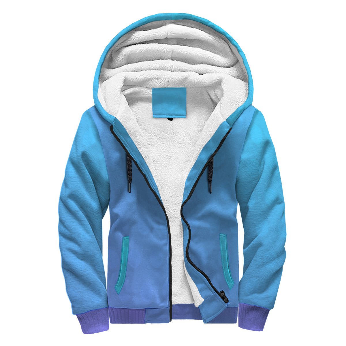 Blue Stamped Metal Sherpa Hoodie - Spangle