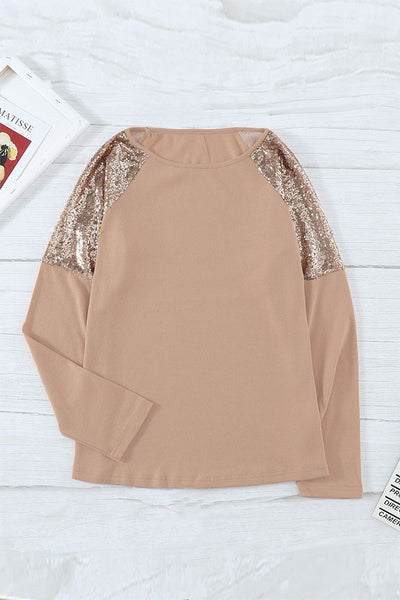 Sequin Shoulder Long Sleeve Top - Spangle