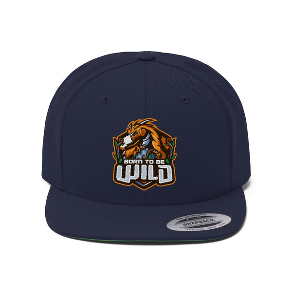 Born To Be Wild Logo Unisex Flat Bill Hat - Spangle