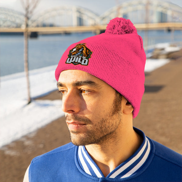Born To Be Wild Logo Pom Pom Beanie - Spangle