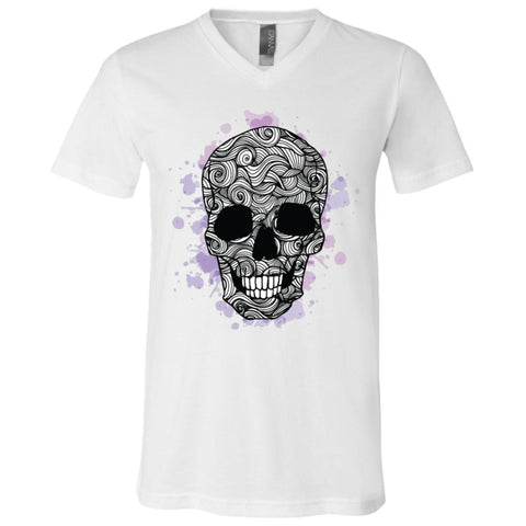 Doodle Skull Unisex V-Neck T-Shirt - Spangle