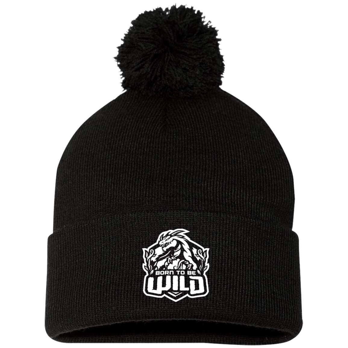 Born To Be Wild White Logo Pom Pom Knit Cap - Spangle