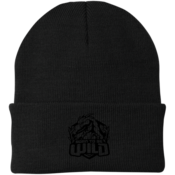Born To Be Wild Black Logo Knit Cap - Spangle