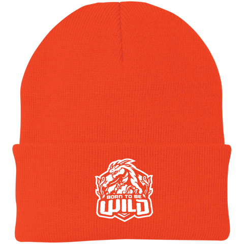Born To Be Wild White Logo Knit Cap - Spangle