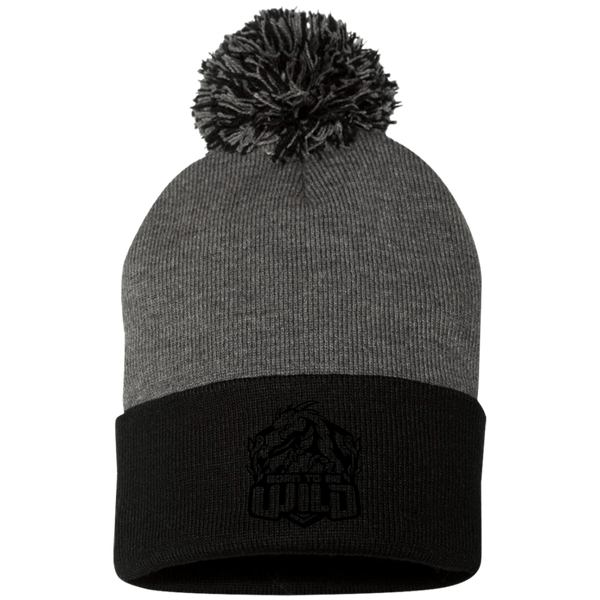 Born To Be Wild Black Logo Pom Pom Knit Cap - Spangle