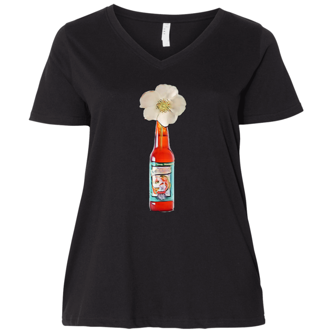 Cherokee Rose  Ladies' Curvy V-Neck T-Shirt - Spangle