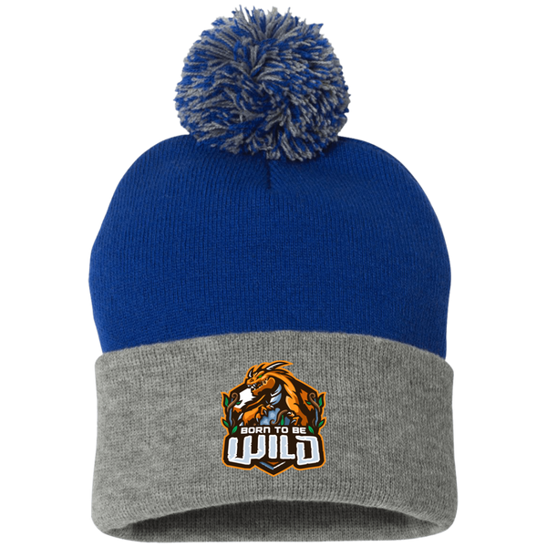 Born To Be Wild Logo Pom Pom Knit Cap - Spangle