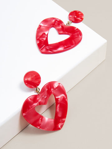 Acetate Heart Drop Earring - Spangle