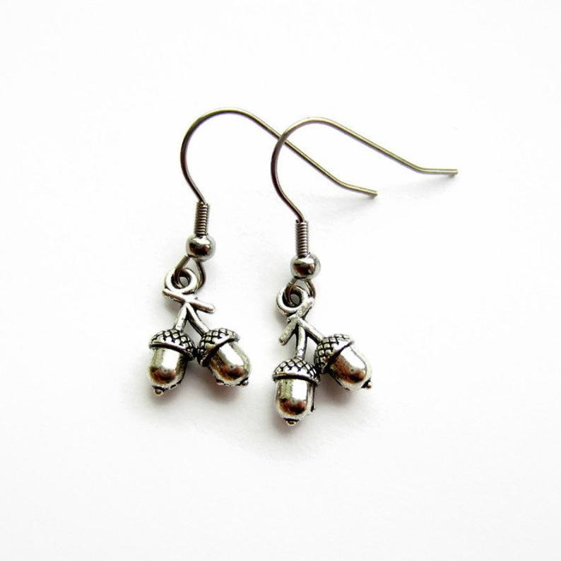 Silver Double Acorn Earrings - Spangle