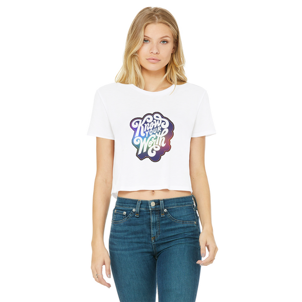 Know Your Worth, Rainbow Classic Women's Cropped Raw Edge T-Shirt - Spangle