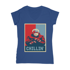 Bernie Sanders Chillin Meme Classic Women's V-Neck T-Shirt - Spangle
