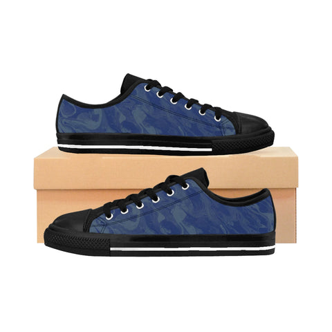 Men's Low-Top Canvas Sneakers, Blue Green Abstract Design - Spangle