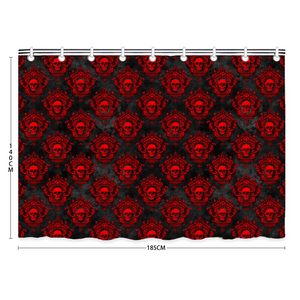 "Black and Red Skull Print Bath Shower Curtain 55"" x 73"" - Spangle"