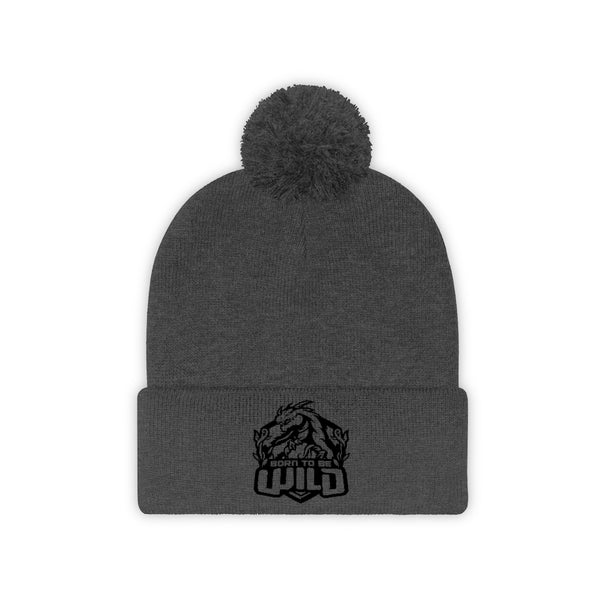 Born To Be Wild Black Logo Pom Pom Beanie - Spangle