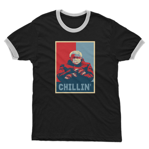 Bernie Sanders Chillin Meme Adult Ringer T-Shirt - Spangle