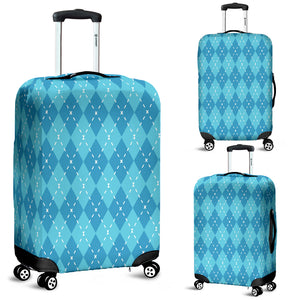 Blue Argyle Luggage Cover - Spangle