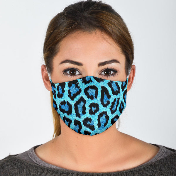 Blue Leopard Print Face Mask - Spangle