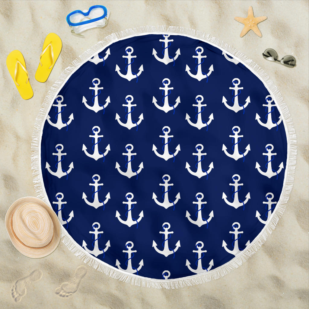 Small Anchors Round Beach Towel - Spangle