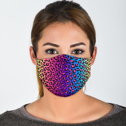 Rainbow leopard print face mask - Spangle