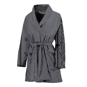 Women's Gray and Black Bandana Bathrobe - Spangle