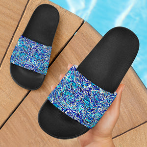 Blue Cork Slide Sandals-Black - Spangle