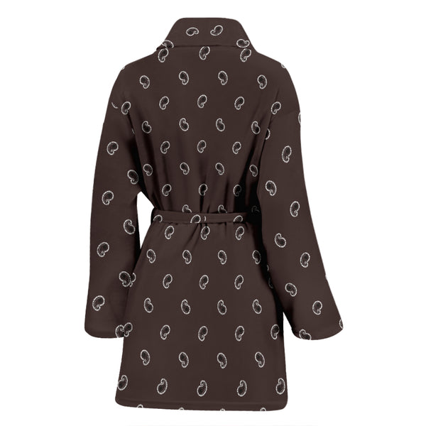 Coffee Brown Paisley Women's Bathrobe - Spangle