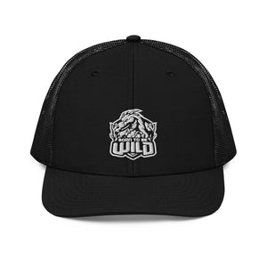 Born To Be Wild White Logo Snap Back Trucker Cap - Spangle