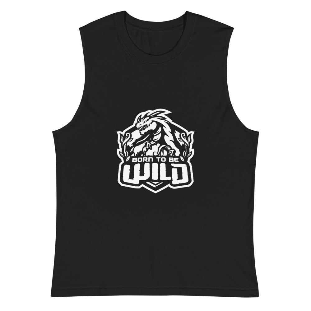 Born To Be Wild White Logo Men's Muscle Shirt - Spangle
