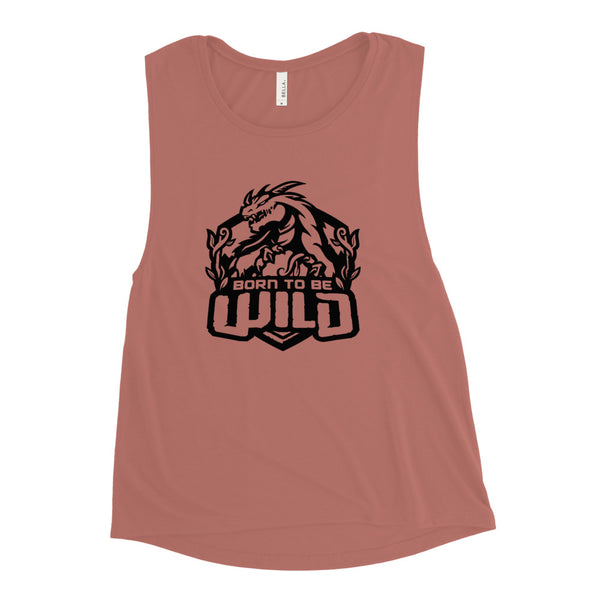 Born To Be Wild Black Logo Women's Muscle Tank - Spangle