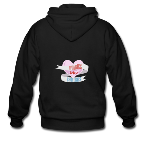 Unisex Ovaries Before Brovaries Zip Hoodie - Spangle