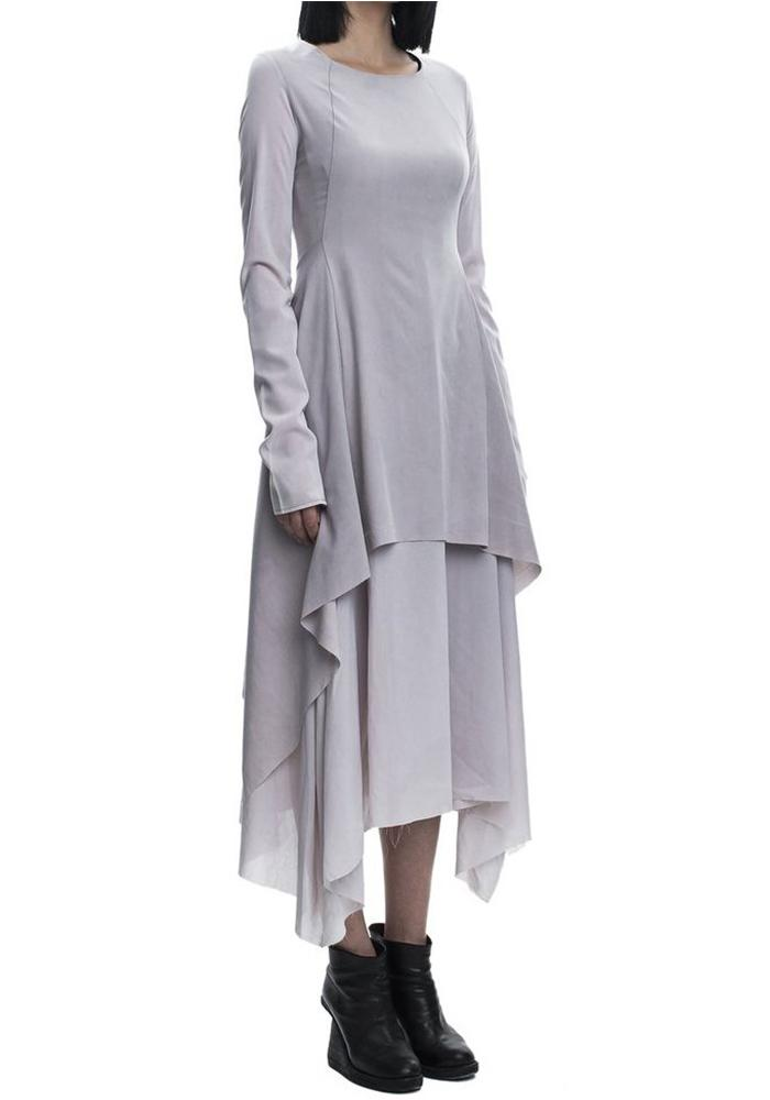 139DEC layered flowing dress, long sleeves, light grey-lavender color, lightweight, ethereal and elegant dress.