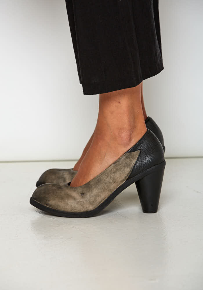 Suede Pump with Leather Wrapped Hand Carved Heel- Last Pairs Size 37 and 40