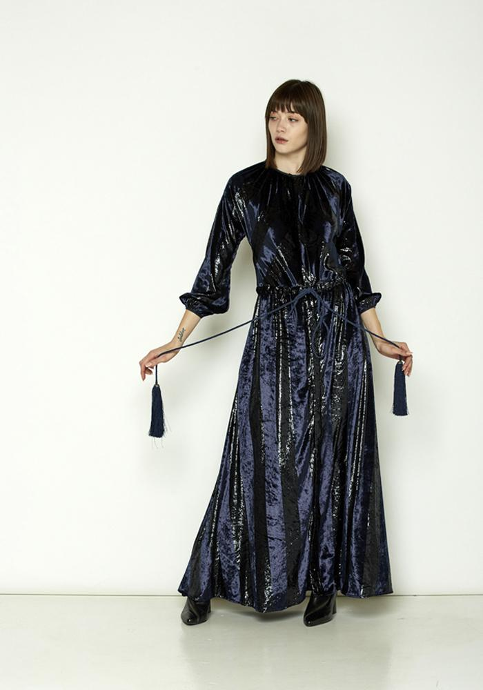 Navy Tie-Waist Maxi Dress - December Thieves
