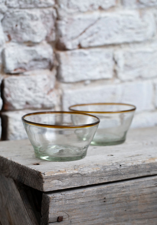 Small Amber Rim Recycled Glass Bowl