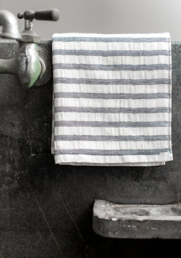 Morihata Cotton and Linen Striped Hand Towel