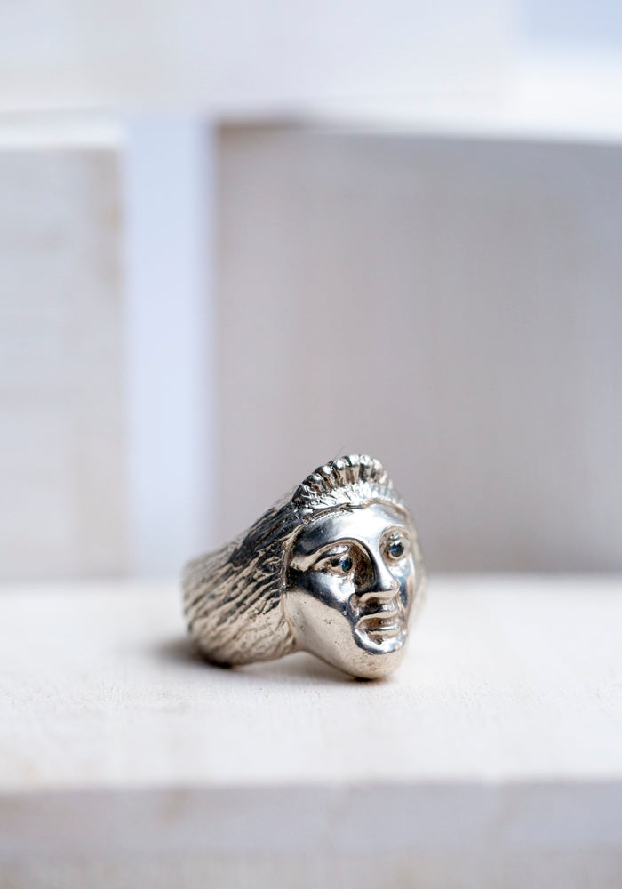 Sterling and Sapphires Lady Face Ring